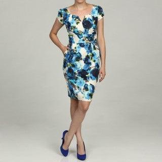 Eliza J Women's Blue Floral Print Dress