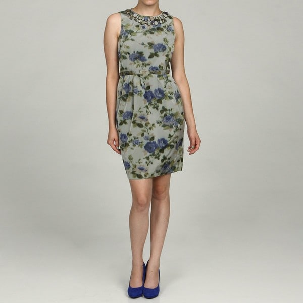 Eliza J Women's Petite Floral Bead Embellished Dress