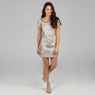 Eliza J Petite Brocade Rhinestone Dress FINAL SALE
