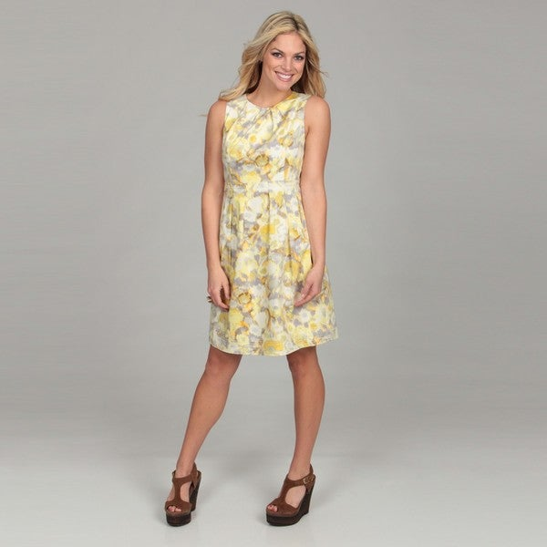 Eliza J Women's Yellow Floral Print Pleated Dress