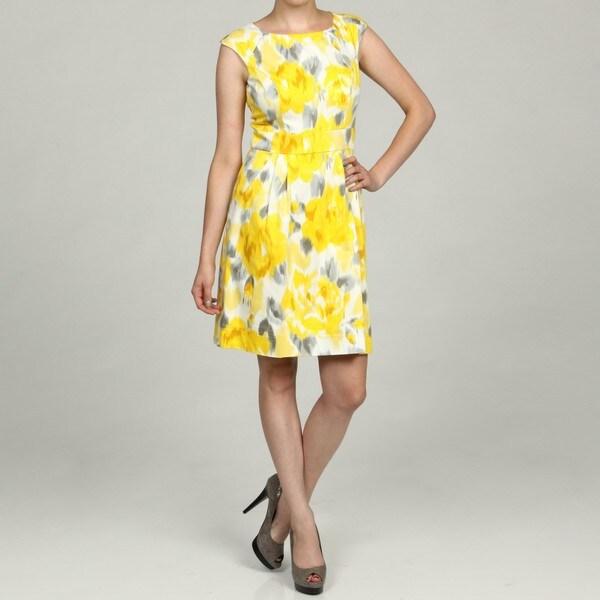 Eliza J Women's Cap Sleeve Inset Waist Yellow Print Dress