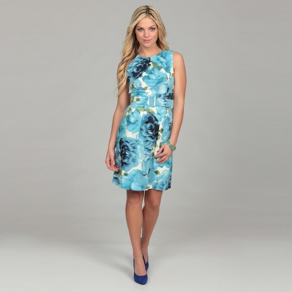 Eliza J Women's Green Floral Print Belted Dress