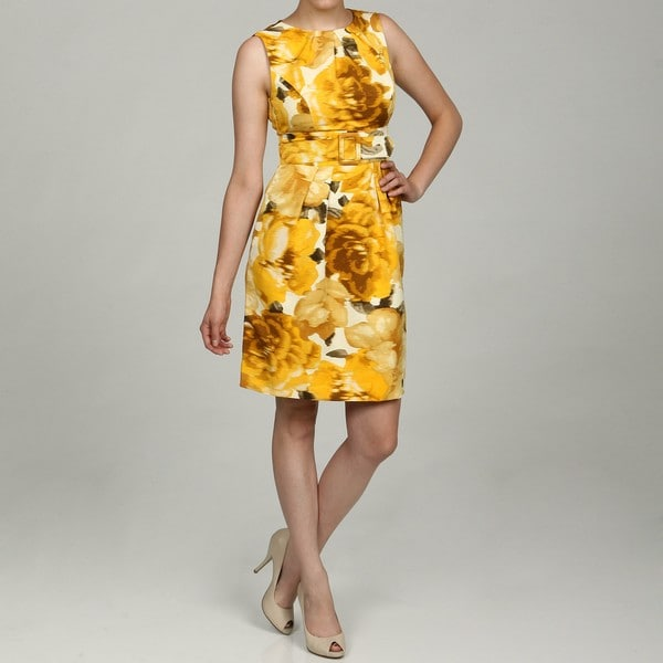Eliza J Women's Yellow Floral Belted Dress