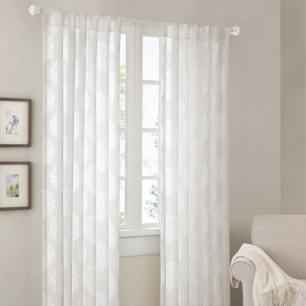 Madison Park Emerson Damask 95-inch Curtain Panel - 13792341 ...