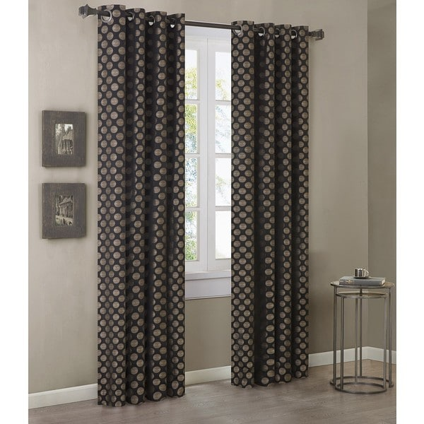 Madison Park Reed Gold/ Black 84-inch Curtain Panel
