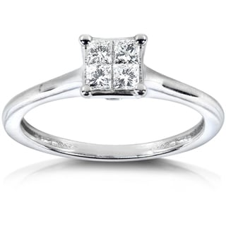 Annello 14k White Gold 1/3ct TDW Princess Diamond Ring (H-I, I1-I2)