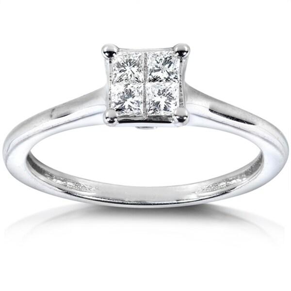 Annello 14k White Gold 1/3ct TDW Princess Diamond Ring (H-I, I1-I2)