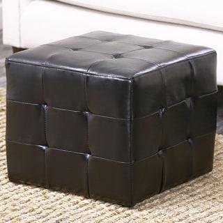 Abbyson Living Bentley Bonded Leather Cube Ottoman