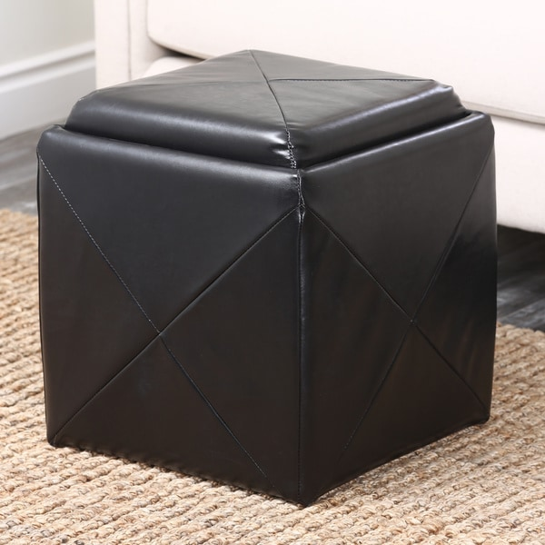 ABBYSON LIVING Bentley Bonded Leather Cube Storage Tray Ottoman