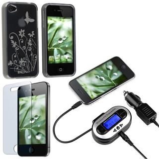 TPU Case/ Screen Protector/ FM Transmitter for Apple iPhone 4