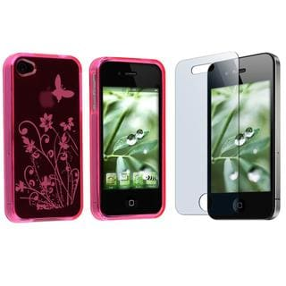 Hot Pink Flower Butterfly Case/ Screen Protector for Apple iPhone 4