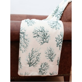 Coral Printed Microplush Throw