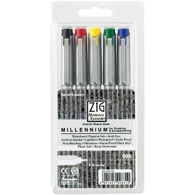 Zig Memory System Millennium 0.2mm Markers (Pack of 5)
