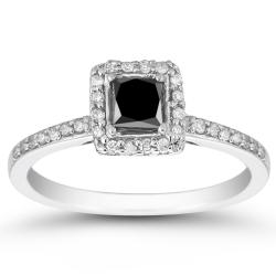 Marquee Jewels 10k White Gold 3/4ct TDW Black and White Diamond Halo Ring (I-J, I1-I2)
