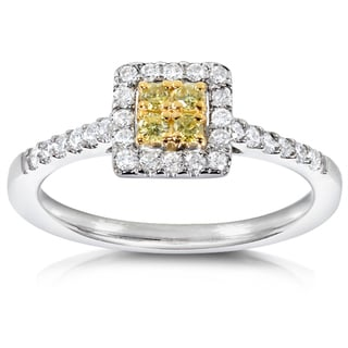 Annello 14k Gold 1/3ct TDW Yellow and White Diamond Halo Ring (H-I, I1-I2)