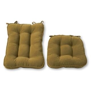 Solid Moss Tie-on Reversible Chair Cushion Set