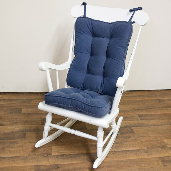 Denim-blue Reversible Chair Seat and Back Cushion Set