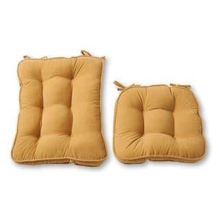 Cream Microfiber Reversible Chair Cushion Set