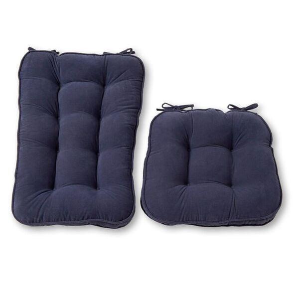 Denim Microfiber Reversible Rocking Chair Jumbo-size Cushion Set
