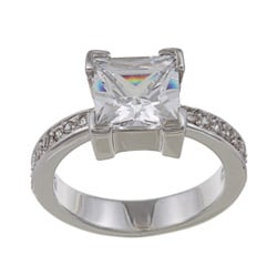Silvertone Princess-cut Cubic Zirconia Ring