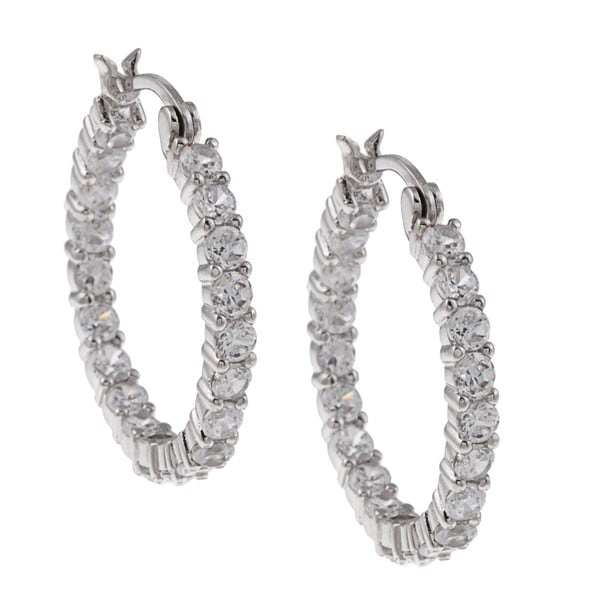 Silvertone Clear Cubic Zirconia Hoop Earrings