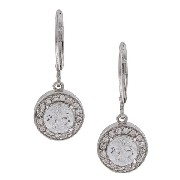 Silvertone Round Clear Cubic Zirconia Dangle Earrings