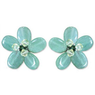 Handmade Sterling Silver 'Cool Aqua Flower' Quartzite Earrings (Thailand) 8281142