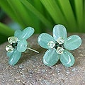 Sterling Silver 'Cool Aqua Flower' Quartzite Earrings (Thailand)