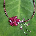 Stainless Steel 'Floral Chic' Quartzite and Garnet Choker (Thailand)