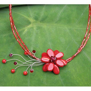 Stainless Steel 'Red Floral Chic' Beaded Glass Necklace (Thailand) 8281164