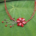 Stainless Steel 'Red Floral Chic' Beaded Glass Necklace (Thailand)
