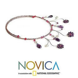 Amethyst and Rose Quartz 'Jungle Star' Necklace (Thailand)