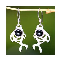 Sterling Silver Handcrafted 'Guppies' Onyx Dangle Earrings (Indonesia)
