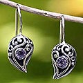 Sterling Silver 'Dancing Dewdrops' Amethyst Earrings (Indonesia)