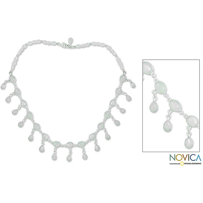 Sterling Silver 'Moonlit Dancer' Moonstone Waterfall Necklace (India)