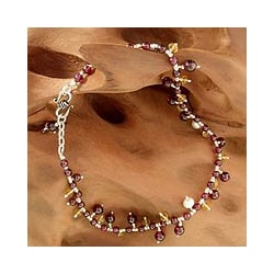 Silver 'Love Riches' Multi-gemstone Pearl Anklet (3.5-4 mm) (India)