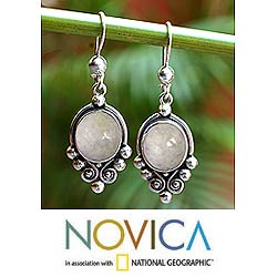Sterling SIlver 'Praise Love' Lavender Jade Earrings (Guatemala)