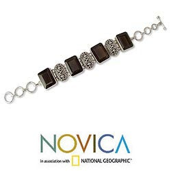 Sterling Silver 'Song of India' Smoky Quartz Bracelet (India)