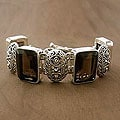 Handmade Sterling Silver Song of India Smoky Quartz Multi Stone Bracelet (India)