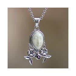 Silver 'Mother Earth Sleeps' Amethyst Cow Bone Necklace (Indonesia)