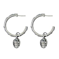 Sunstone Sterling Silver Bali Hoop Heart Earrings