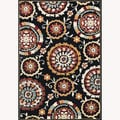 Chime Black Area Rug (5'3 x 7'7)