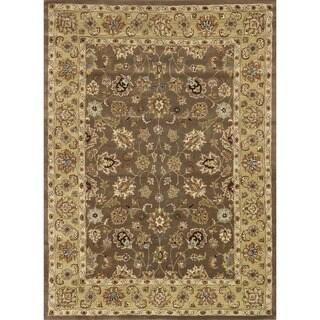 Hand-tufted Mason Mocha/ Light Gold Wool Rug (8' x 11')