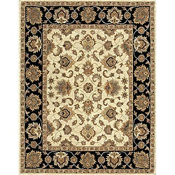 Hand-tufted Mason Beige/ Black Wool Rug (8' x 11')