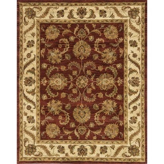 Hand-tufted Mason Red/ Beige Wool Rug (7'9 x 9'9)