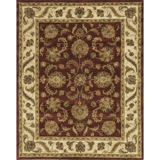 Hand-tufted Genus Red/ Beige Wool Rug (3'6 x 5'6)