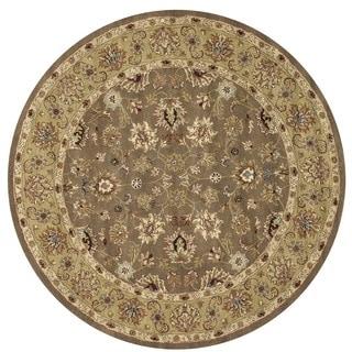 Hand-tufted Genus Mocha/ Light Gold Wool Rug (8' Round)