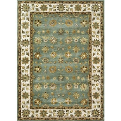 Hand-tufted Genus Blue/ Beige Wool Rug (8' x 11')