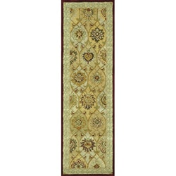 Hand-tufted Genus Green/ Multi Wool Runner Rug (2'3 x 8')