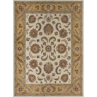 Hand-tufted Genus Beige/ Gold Wool Rug (3'6 x 5'6)